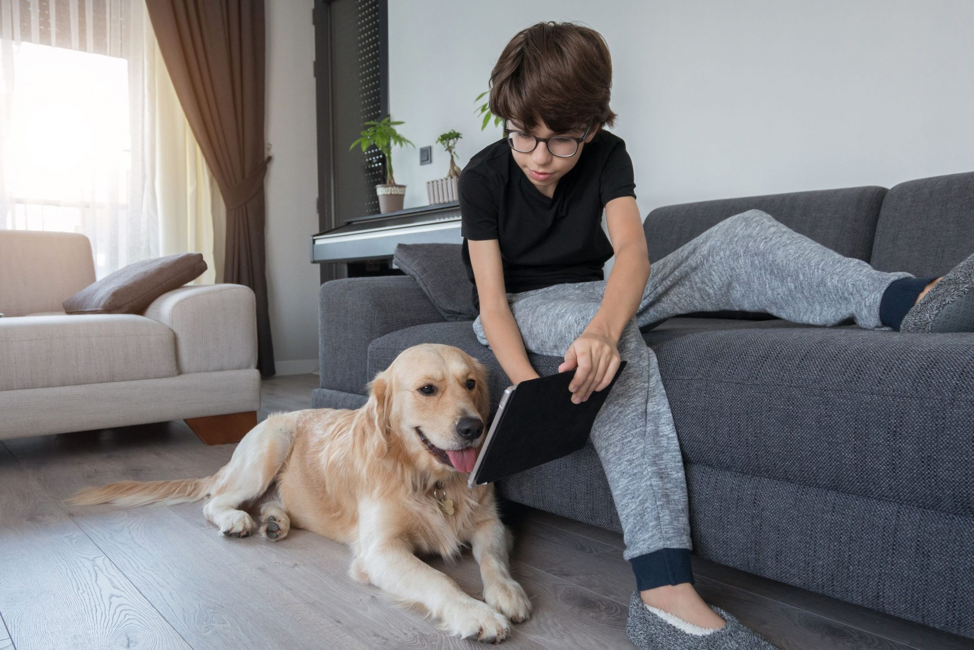 A boy shows his dog something on his tablet.